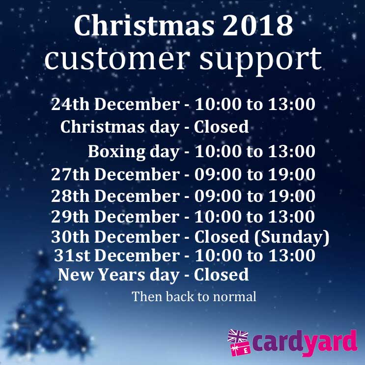Christmas 2018 opening times and last post for orders