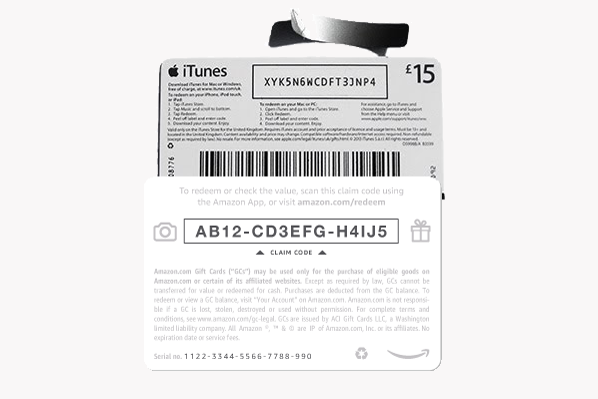 Enter codes with no need to post cards - Amazon & iTunes