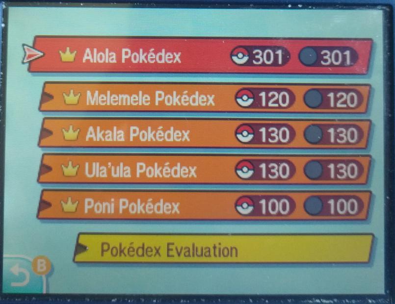 Pokédex completion → Akala Pokédex – Video game high scores