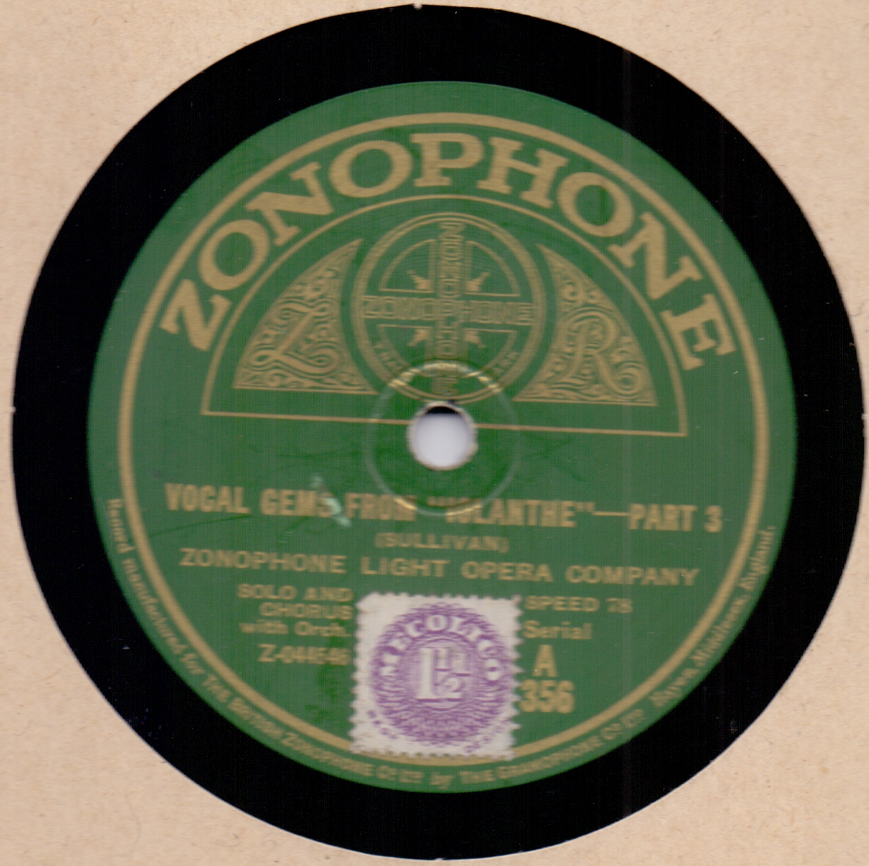 Zonophone Light Opera Company Vocal Gems From ''Iolanthe''