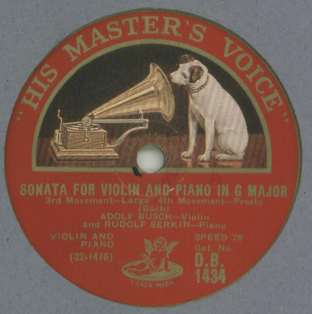 adolf busch and rudolf serkin - johann sebastian b sonata for violin and piano in g major