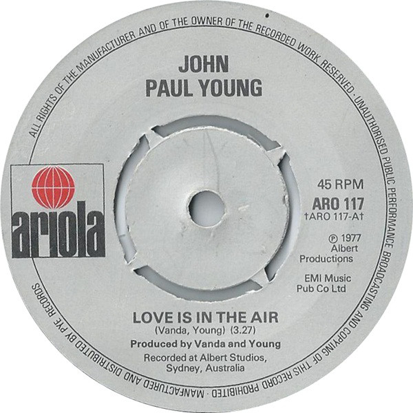 JOHN PAUL YOUNG - Love Is In The Air - 45T x 1