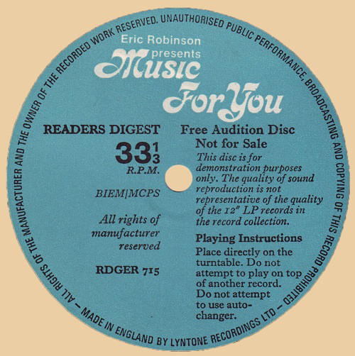 ERIC ROBINSON - Music For You - Flexi
