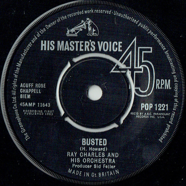 RAY CHARLES AND HIS ORCHESTRA / RAY CHARLES - Busted / Making Believe - 7inch x 1
