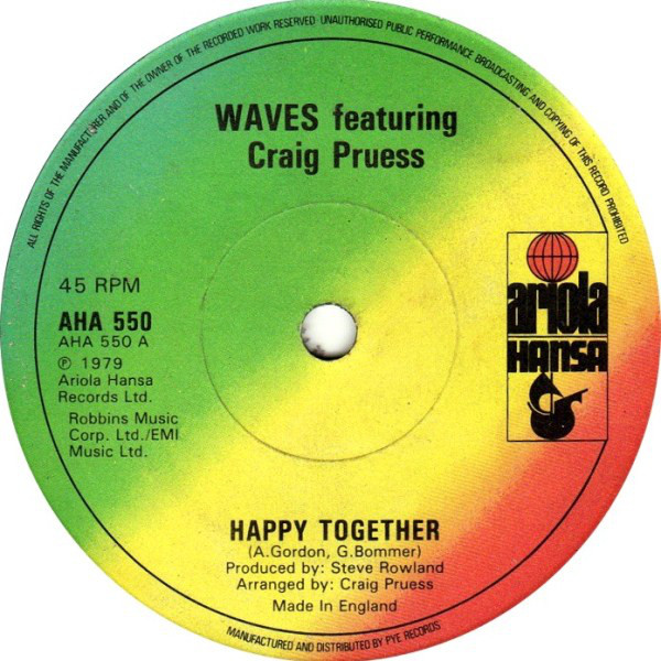 WAVES  FEATURING CRAIG PRUESS - Happy Together - 45T x 1