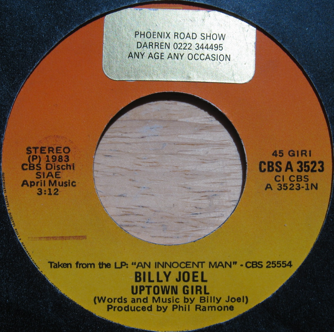 Billy Joel - Uptown Girl Record