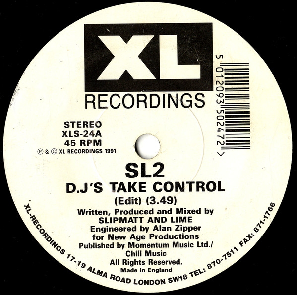 SL2 - DJ's Take Control / Way In My Brain - 45T x 1