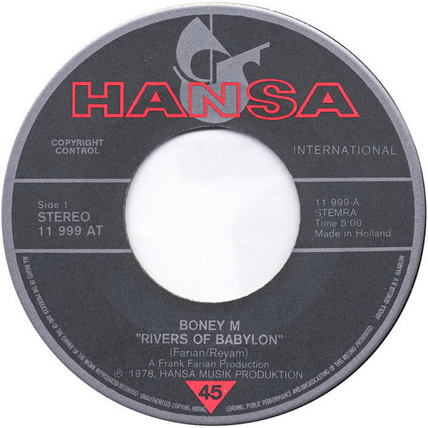 BONEY M. - Rivers Of Babylon - 45T x 1