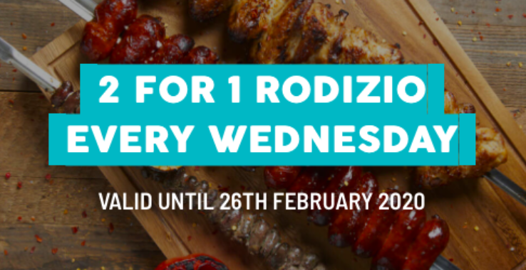 2 for 1 Rodizio at Preto Colchester
