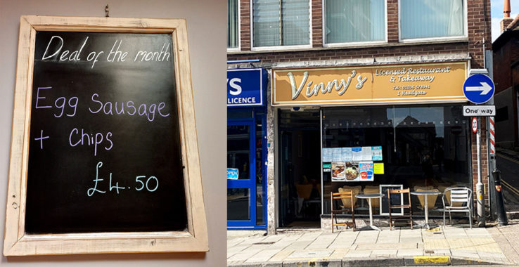 £4.50 Sausage, eggs and chips at Vinny's Restaurant