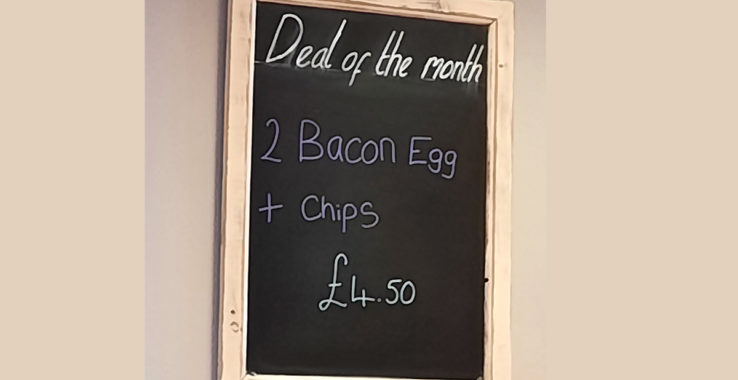 £4.50 bacon, eggs and chips at Vinny's Restaurant