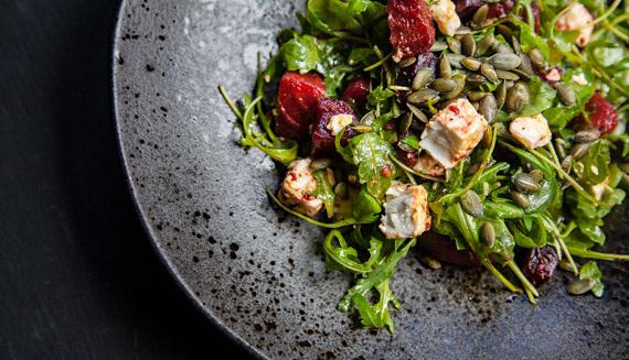 Content Salad on stoneware