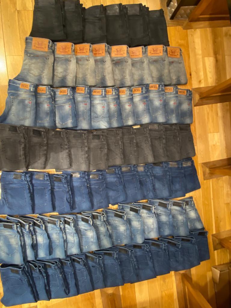 Jeans on floor