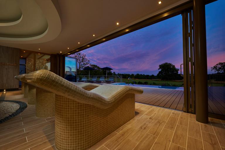 Spa Hotel SECONDARY Rockliffe Hall Spa Garden at dusk