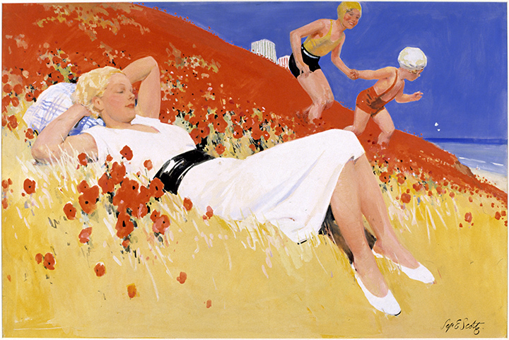 Art Deco By the Sea Cleethorpes design for Railway Poster Septimus Scott c1930 Laing Art Gallery Newcastle