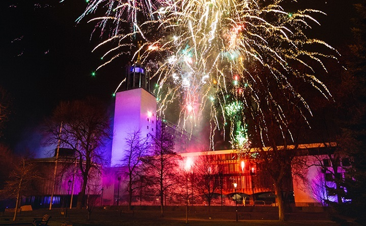 NYE Early Evening Fireworks Newcastle Civic Centre Resized GIF