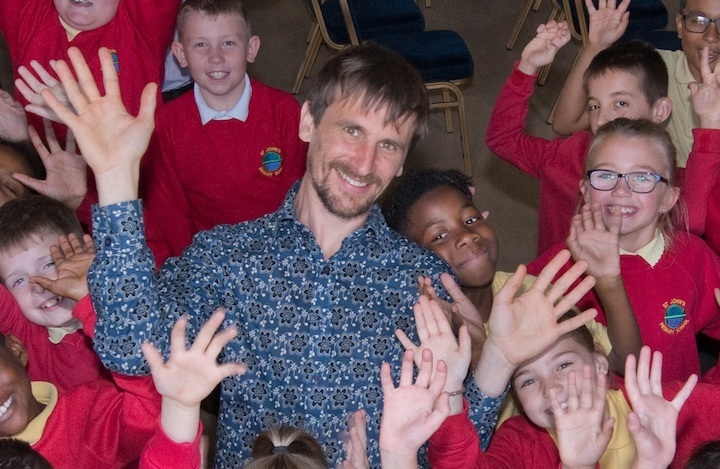 Sound artist Matt Wright when he was Inventor in Residence at Discovery Museum with St Johns Primary School students July 2019