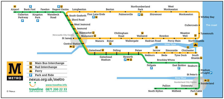 Nexus tyne and wear metro map