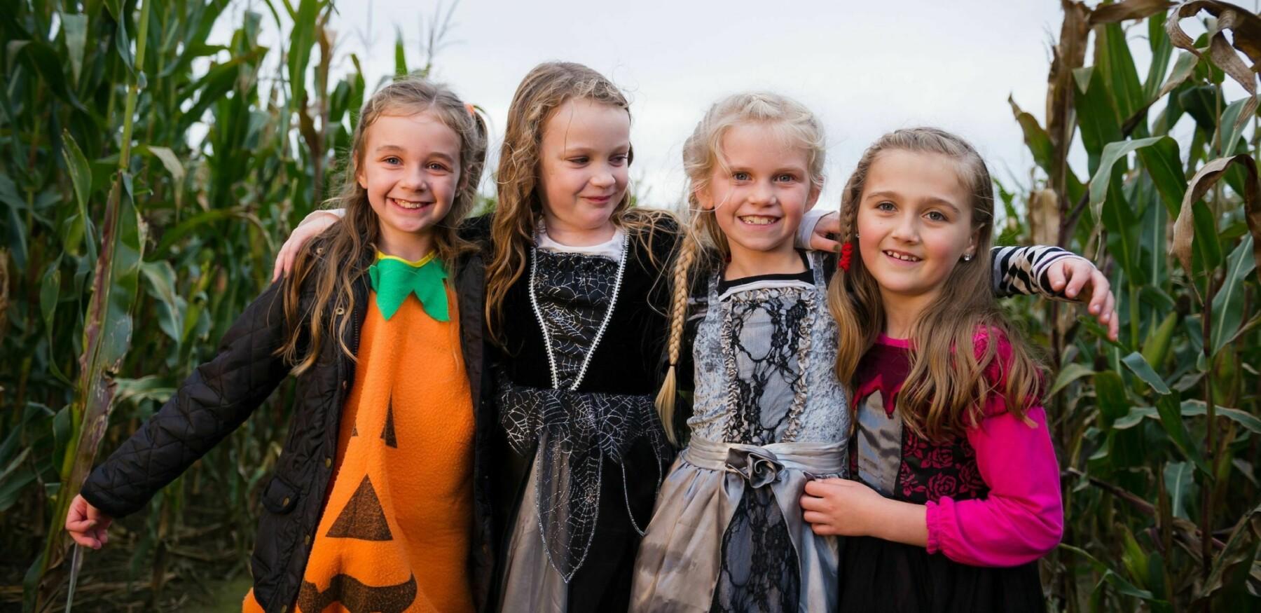 Halloween girls in maze 1