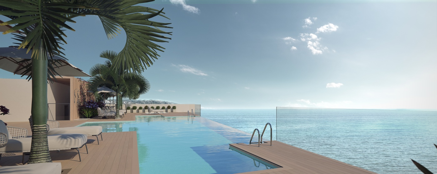 Luxury beachfront apartments with rooftop pool