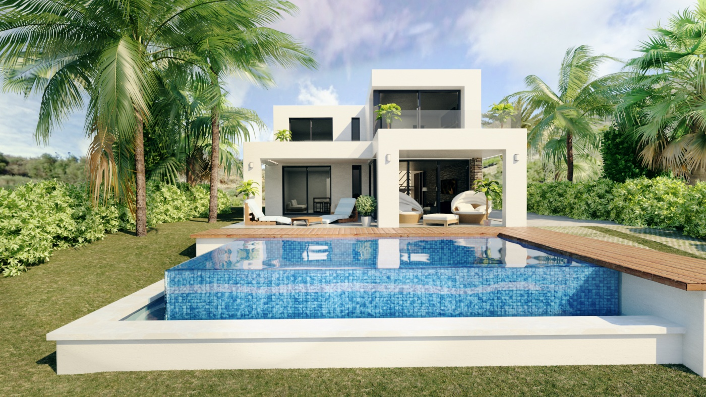 Luxury contemporary boutique villas with panoramic sea and mountain views