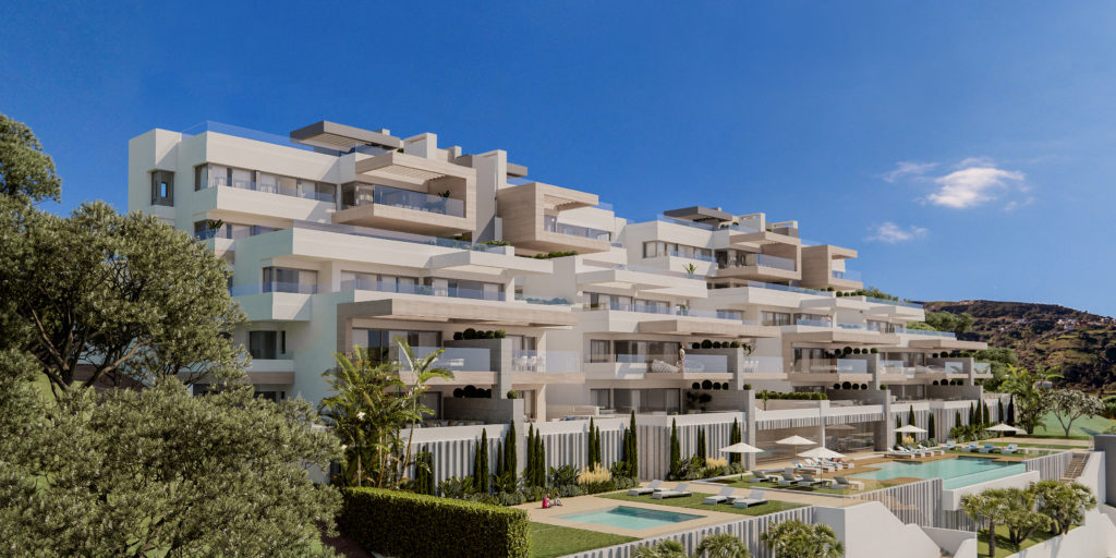 Elevated location apartments in Estepona town centre