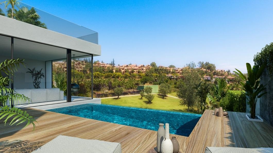 First line golf contemporary villas in Estepona