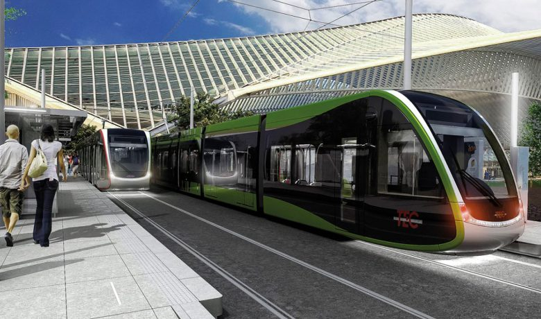 Trams at a station