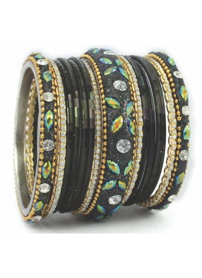 Black Studded Glitter Glass Bangles