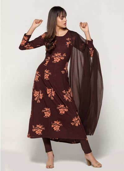 Chocolate & Peach Floral Print Dress
