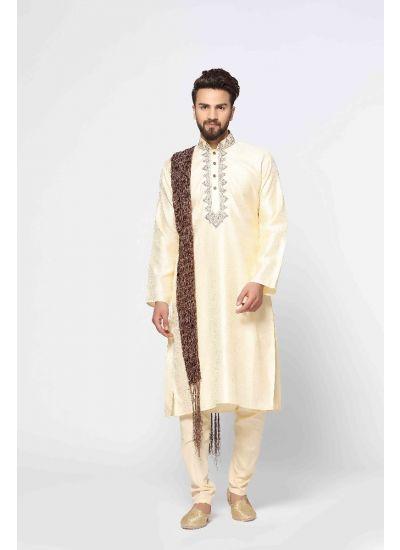 Gold Weaved Kurta Pyjama Set