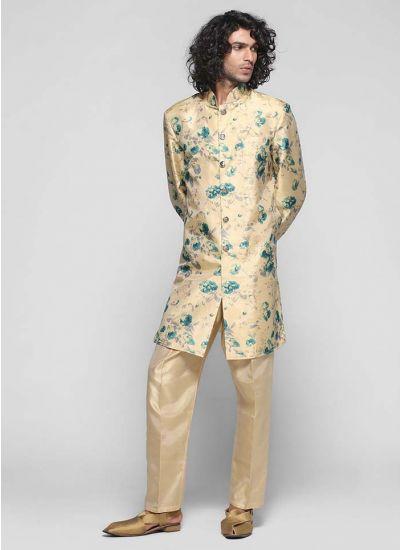 Floral Silk Jacket Pant Set