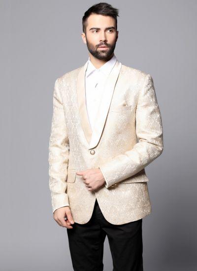 Cream & Gold Damask Brocade Blazer