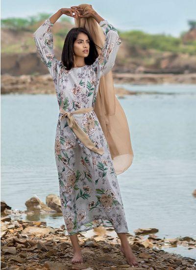 Tropical Floral Printed Belt Suit