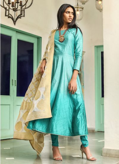 Flared Banarasi Dupatta Suit Set