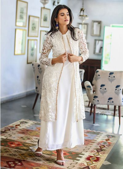 Floral Net Embroidered Jacket Suit