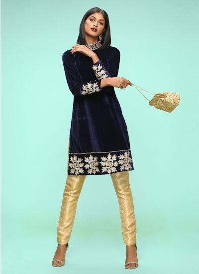 Gold Embellished Shift Dress