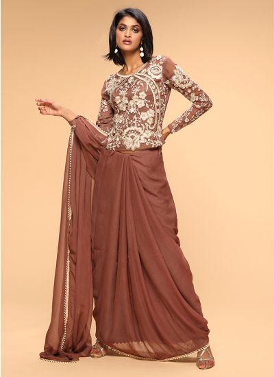 Resham Pearl Embellished Saree