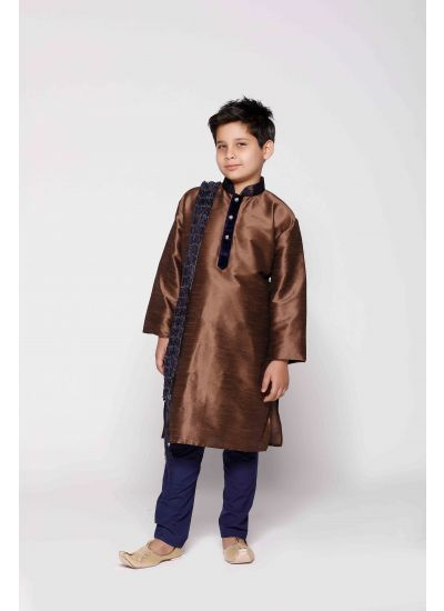 Copper & Navy Silk Kurta Pyjama Set