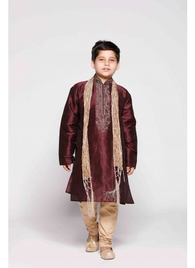 Wine & Gold Embellished Kurta Pyjama