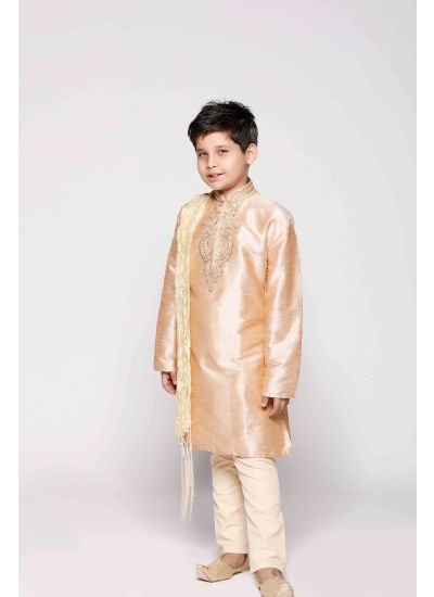 Cream & Gold Ornamented Kurta Set