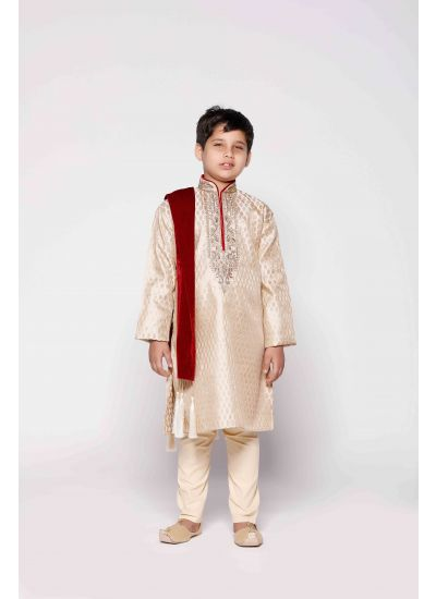 Ornamented Gold Jacquard Kurta Set