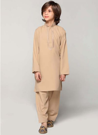 Camel Threaded Kurta Salwar Set