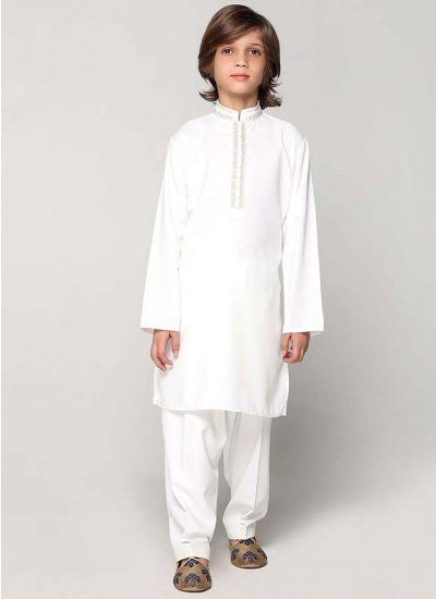 Cream Threaded Kurta Salwar Set