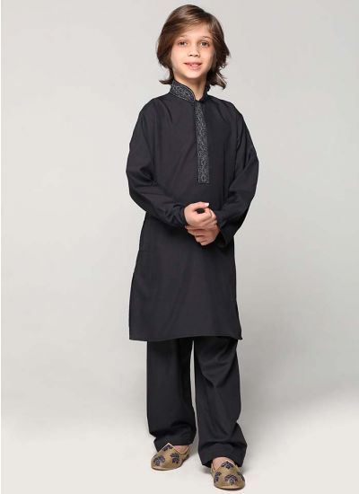 Black Threaded Kurta Salwar Set