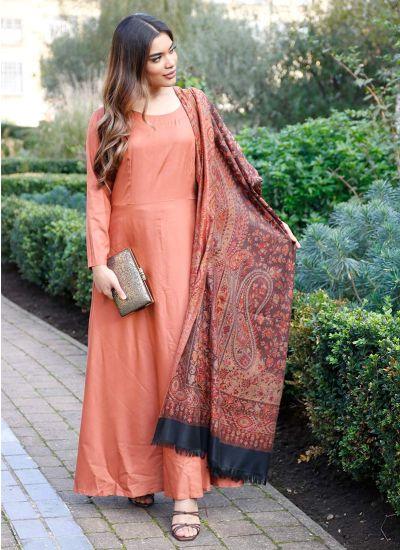 Rust Flow Shawl Dress