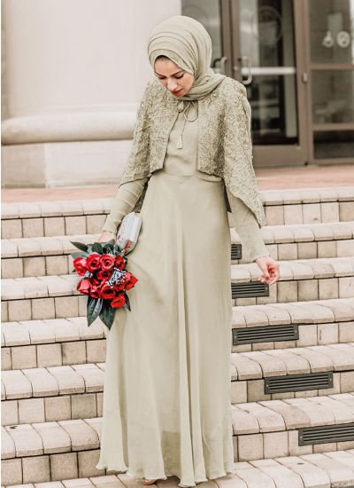 Embellished Cape Flared Suit