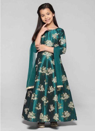 Brocade Flared Floral Dress
