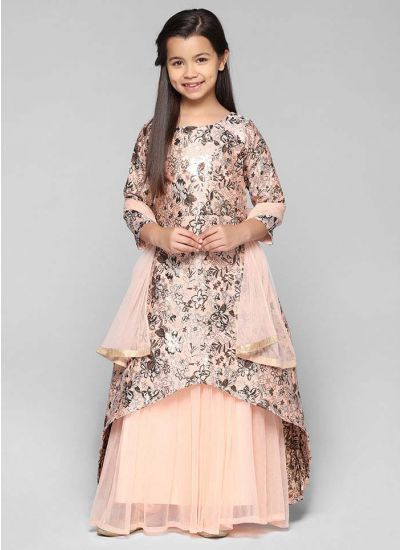 Brocade Asymmetric Floral Long Dress