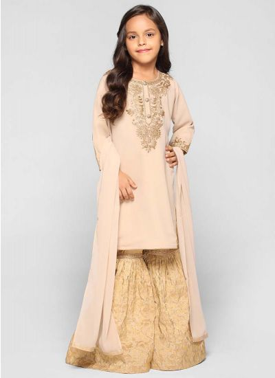 Gold Jacquard Gharara Dress